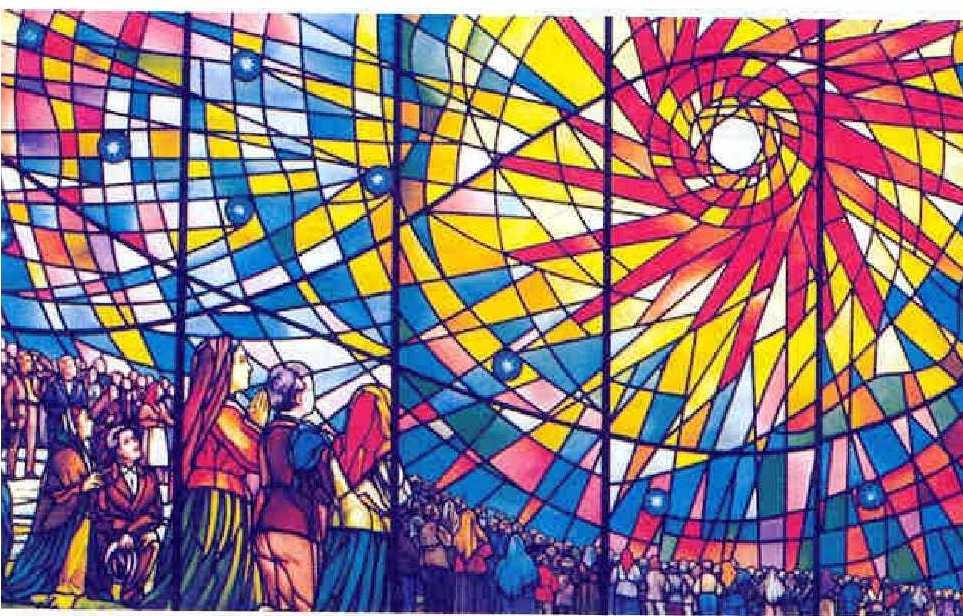 Fensterglasmalerei in der alten Spitalskapelle von Fatima (hinter der Capelinha), Das Sonnenwunder