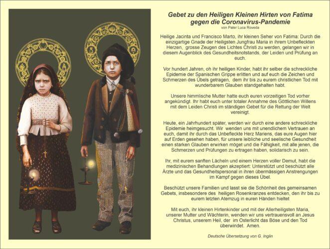 Gebet zu den heiligen Franciso und Jacinta Marto gegen Covid-19